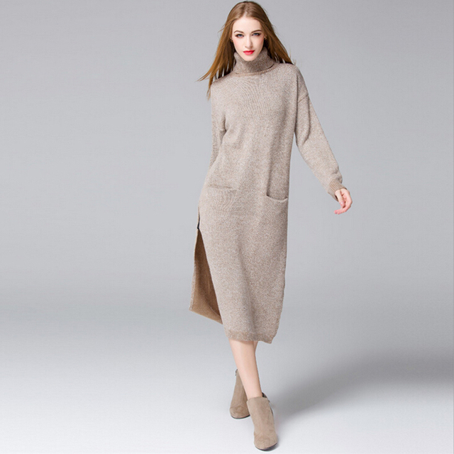Rabbit Fur Lengthen Sweater Dress Women Thick Knitting Sweaters Vestido 2017 Turtleneck Maxi Elegance Winter