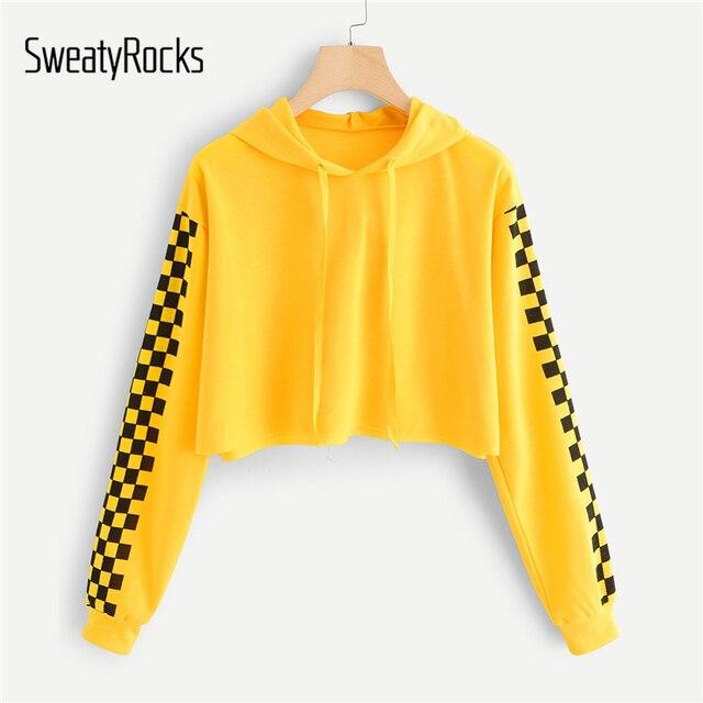 e18493a399a SweatyRocks Yellow Women Hoodies Sweatshirt Female Contrast Checked Sleeve  Casual Pullover Crop Sweatshirt 2018 Fall Tops