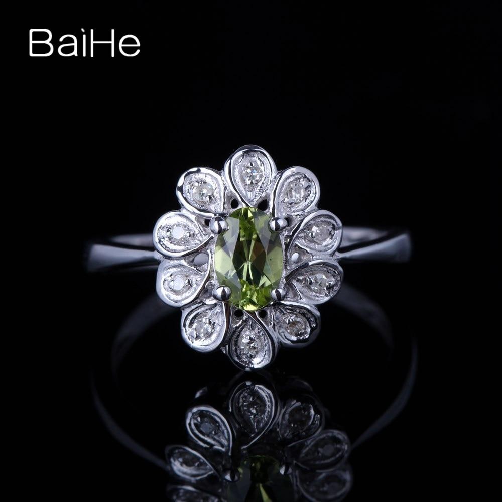 BAIHE solide 10 K or blanc 0.405ct certifié ovale coupe vert impeccable 100% véritable péridot mariage femmes à la mode Fine bijoux anneau