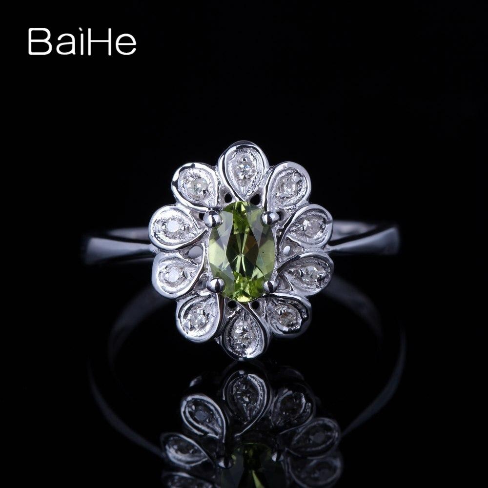 BAIHE solide 10K or blanc 0.405ct certifié ovale coupe vert impeccable 100% véritable péridot mariage femmes à la mode Fine bague de bijoux