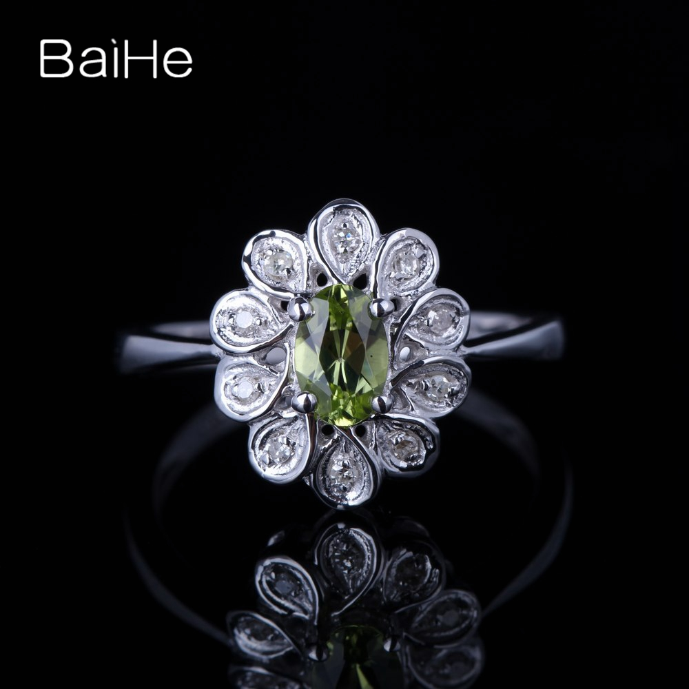 BAIHE solide 14K or blanc 0.405ct certifié ovale coupe vert impeccable 100% véritable péridot mariage femmes à la mode Fine bijoux anneau