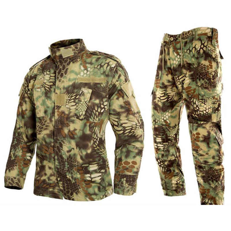 67be328258493 Men Tactical Jacket and Pants Military Combat Uniforms Camouflage Multicam  Suits BDU CS Game Clothing Set