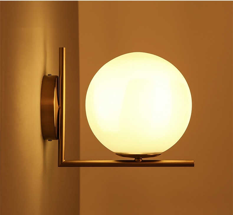 Latest Wall Lamp Design : New Arrival Unique Novelty ball wall lamps glass ball wall lights Geometry Abstract Design ...