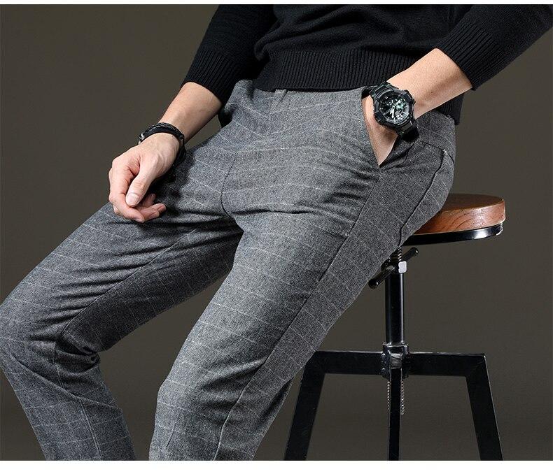 HTB1BvAqoFkoBKNjSZFkq6z4tFXa1 jantour Brand Pants Men Casual Elastic Long Trousers Male Cotton lattice straight gray Work Pant men's autumn Large size 28-38