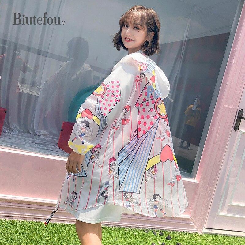 2020 Summer Fashion Cartoon Print Loose Hooded Thin Coats Women Chic Long Sunscreen Coats