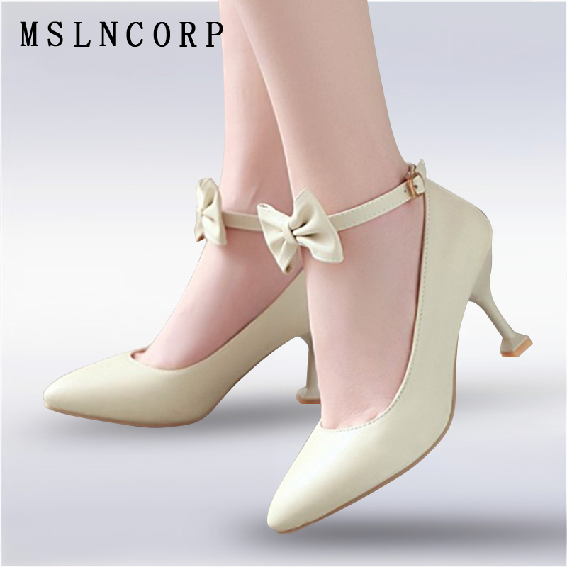 Plus Size 34 46 fashion Ankle bowknot Buckle high heel shoes Pointed Toe women pumps nightclub slip on Dress Party Casual Shoes in Women 39 s Pumps from Shoes