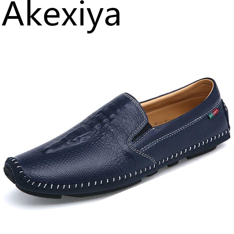 Akexiya Men Flat Driving Shoes Genuine Leather Mocassin Loafers Luxury Brand 2017 Summer Designer Crocodile Shoes