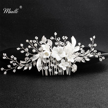 Miallo 2019 Newest White Ceramic Flowers Wedding Hair Comb Bridal Handmade Headpieces Women Jewelry Accessories