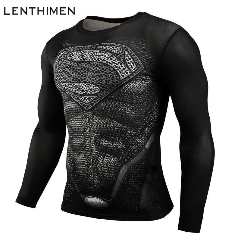 цены на Superman 3D T Shirt Long Sleeve Sport Shirt Men Quick Dry Men's Running T-shirts Gym Clothing Fitness Top Rashgard Male Jersey в интернет-магазинах