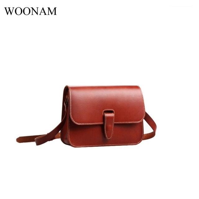 c9ce3a04646 WOONAM Women Fashion Handmade Personalized Full Grain Calf Leather Small  Flap Cross-body Handbag Shoulder