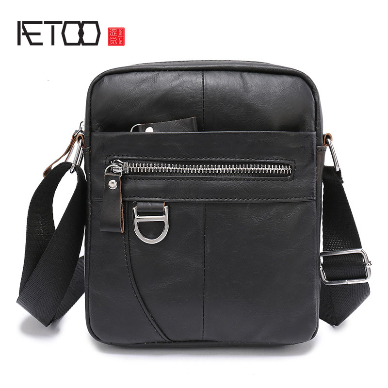 AETOO The skin of the skin and the skin of a man with a single shoulder slanted leather business small bags