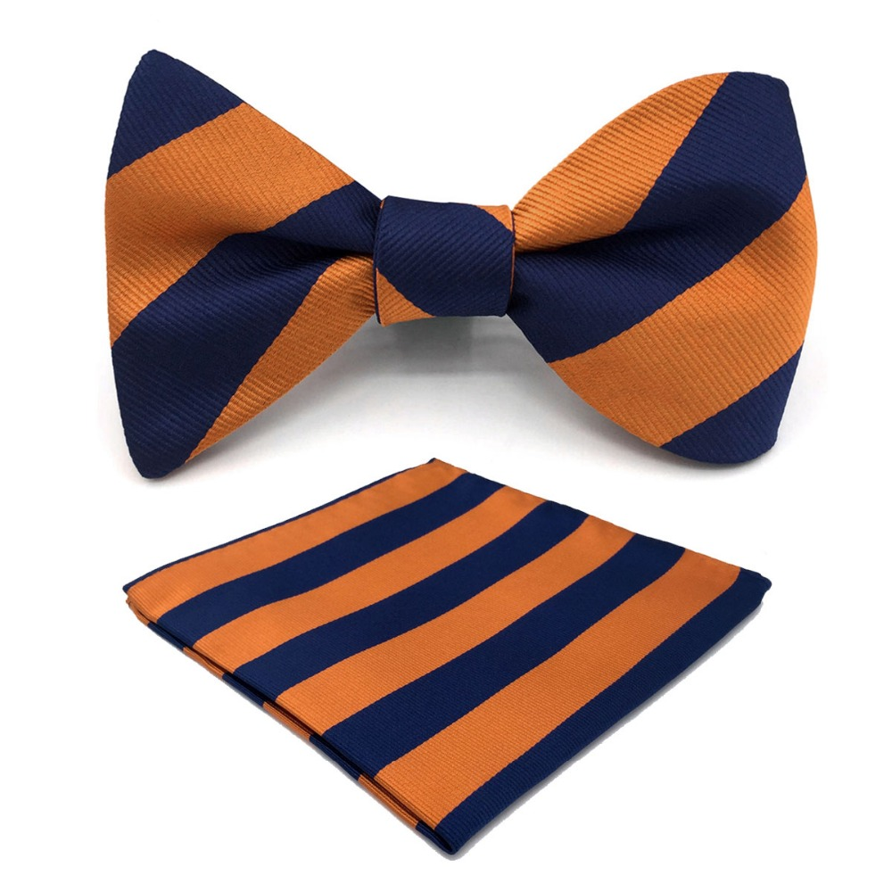 E27 Navy Orange Striped Mens Bowtie Fashion Ajustable Self Bow Tie Pocket Square Set Wedding