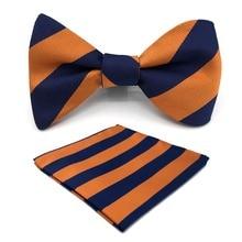 E27 Navy Orange Striped Mens Bowtie Fashion Ajustable Self Bow