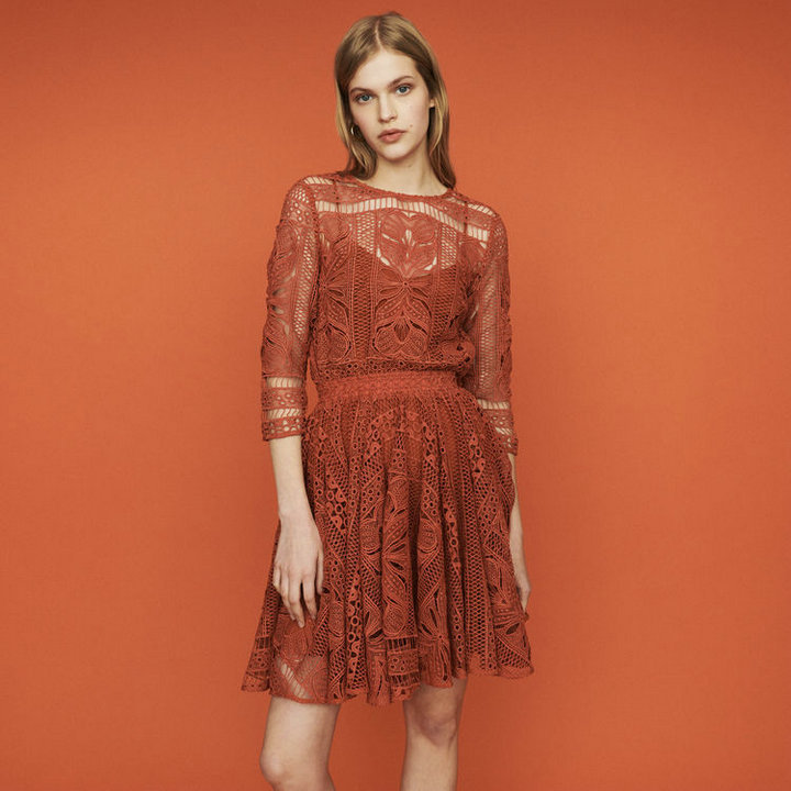 Women Dress 2019 Spring and Summer Round Neck Openwork Lace Tunic Dress