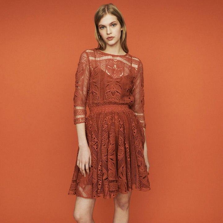 여성 드레스 2019 봄과 여름 라운드 넥 openwork 레이스 튜닉 드레스-에서드레스부터 여성 의류 의  그룹 1