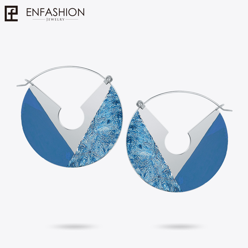 Enfashion Lacquer Art Series Difference Drop Earrings Fan Shape Big Gold color Earrings for Women Earings oorbellen EBQ18LA22 enfashion lacquer art series pink flowers drop earrings fan shape big silver color earrings for women earings ebq18la56