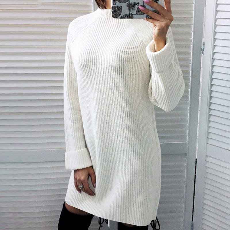 2019 Autumn Winter Sweater Dress Women Black Red White Long Sleeve Turtleneck dresses Fashion Simple Loose Dress Vestidos