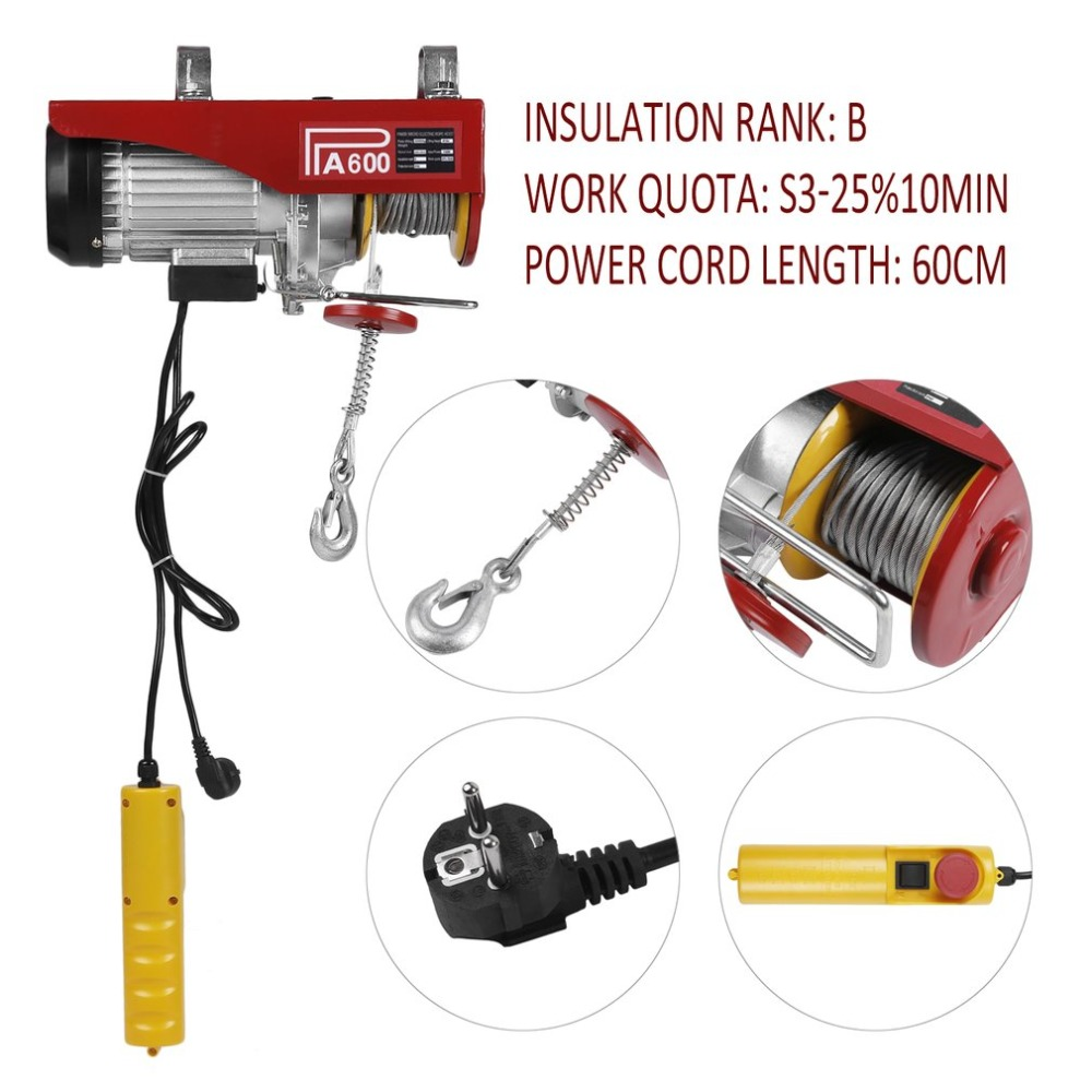 цена Heavy Duty Electric Wire Hoist 300-600KG Auto Lifting Sling Overhead Lift Lifting Tool Remote Control Crane Equipment