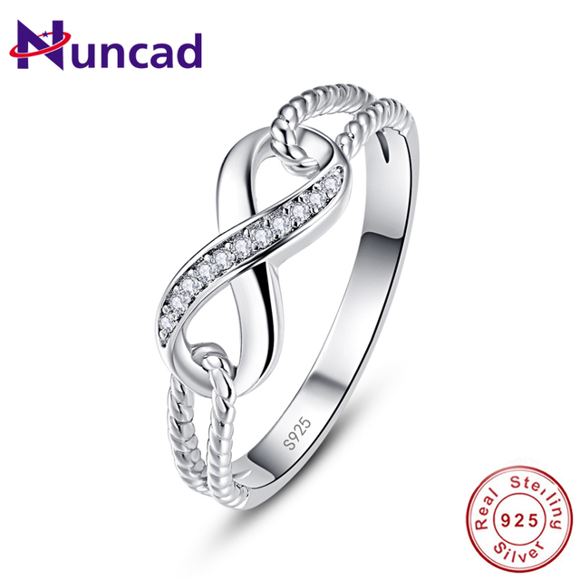 Nuncad Twisted Infinity Symbol Crystal 100 925 Sterling Silver Ring Wedding Bands Woman Fashion Jewelry