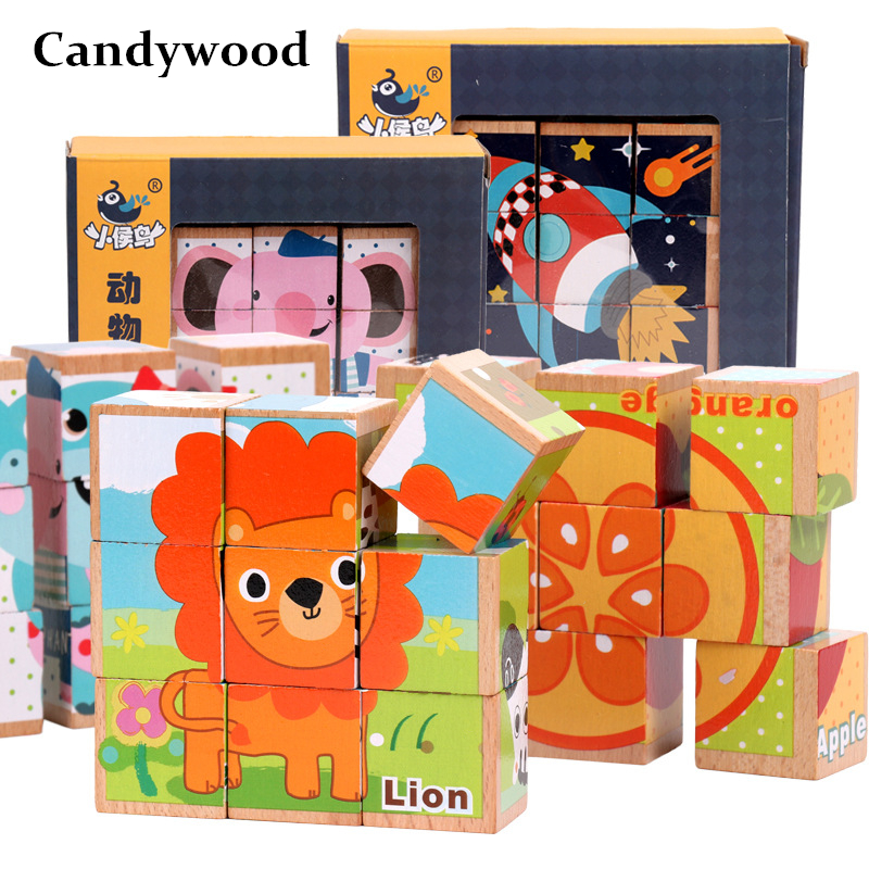 Beech Wooden Cartoon Animal Puzzle Toys 9pcs Single 6 Sides Wisdom Jigsaw Puzzle Early Education Learning Toys For Children Game