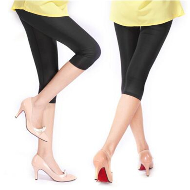New Soft Solid Candy Color Women Summer Leggings High Stretched High Quality Fitness Clothing Cropped Trousers Women Accessory