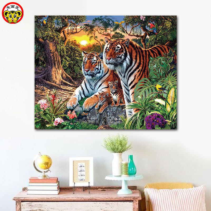 painting by numbers art paint by number Tiger lion elephant wolf leopard cat animal beast beauties sexy beauty coloring handmade