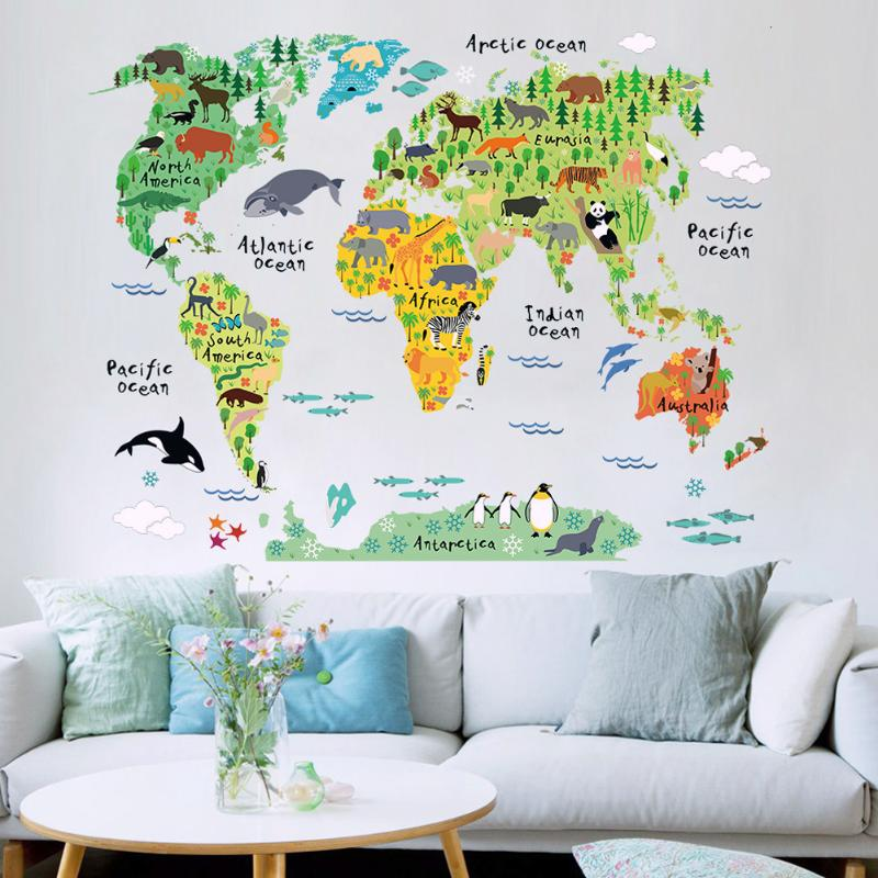 PVCFunny Map of the World Removable Animal World Map Wall Stickers Home Kids Bedroom Art Background Wall Decor 60x90cm