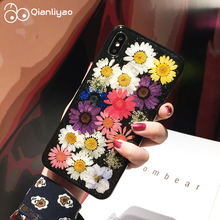 Qianliyao Handmade Glitter Real Dried Flower Case For iPhone X XR XS Max 6 6s 7 8 plus 11 Pro Soft TPU Phone Back Cover