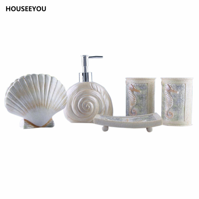New DIY Sea Shell Style Bathroom Accessories Set Toothbrush Holder Cup  Lotion Dispenser Soap Dish Bath