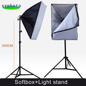 Image 2 - Софтбокс для фотостудии, 2 шт., 50*70 см, E27, держатель для одной лампы, 100 240 В, непрерывный светильник, диффузор, мягкая коробка, 2 м, светильник, подставка, 2 шт.