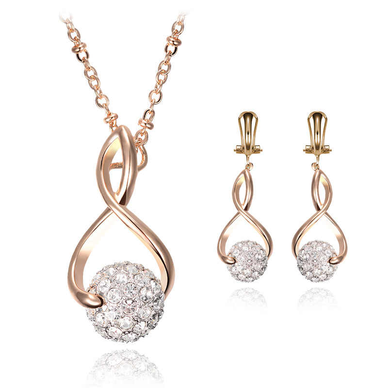 Statement Crystal Chain Pendant Dangle Ear Stud Necklace Jewelry Set anillos mujer Gift