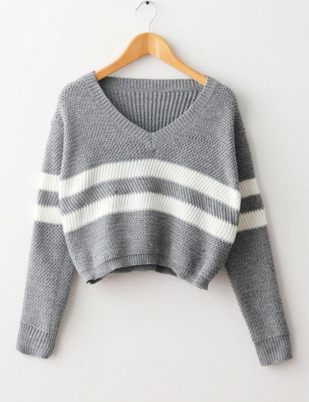 Crop Tops Autumn Women Sweater Striped Knitted Thin Pullover V ...