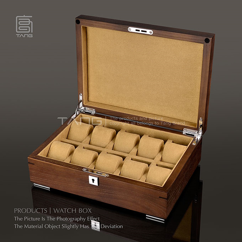 Slots de Armazenamento Caixa de Relógio de Madeira Marca de Moda Mostrador do Relógio de Jóias Caixa de Presente Cor de Café Relógio Boes Case A0100 Top 10
