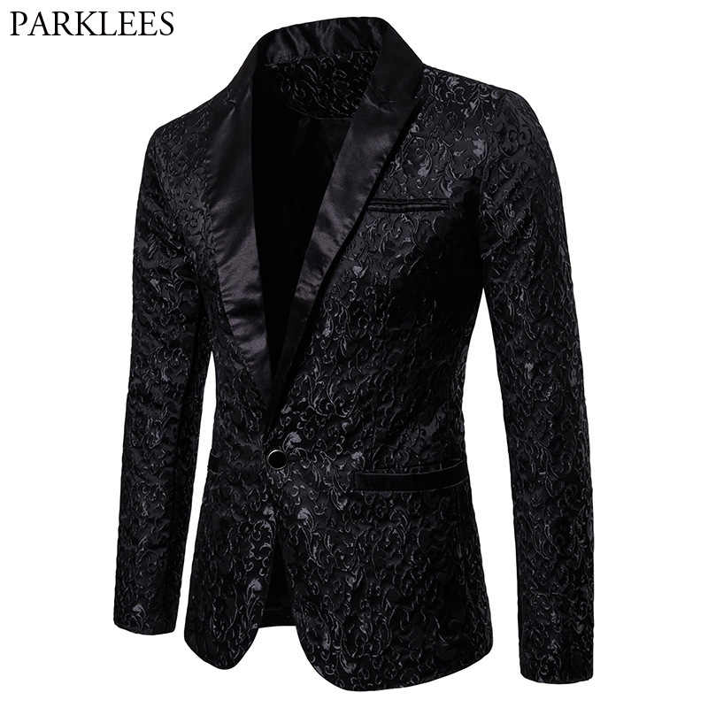 Black Jacquard Bronzing Floral Blazer Men 2018 Luxury Brand Single Button Suit Jacket Men Wedding Party Stage Costume Homme 2XL