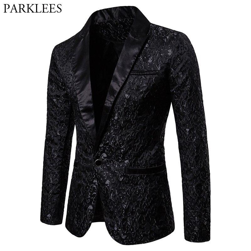 Black Jacquard Bronzing Floral Blazer Men 2018 Luxury Brand Single Button Suit Jacket Men Wedding Party Stage Costume Homme 2XL