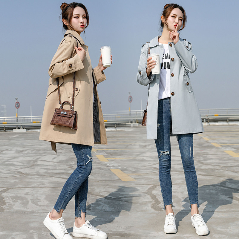 2019 NEW fashion Long   Trench   Coats Spring Autumn Women's Clothing casual Long Sleeve Cloak Tops Outerwear V532