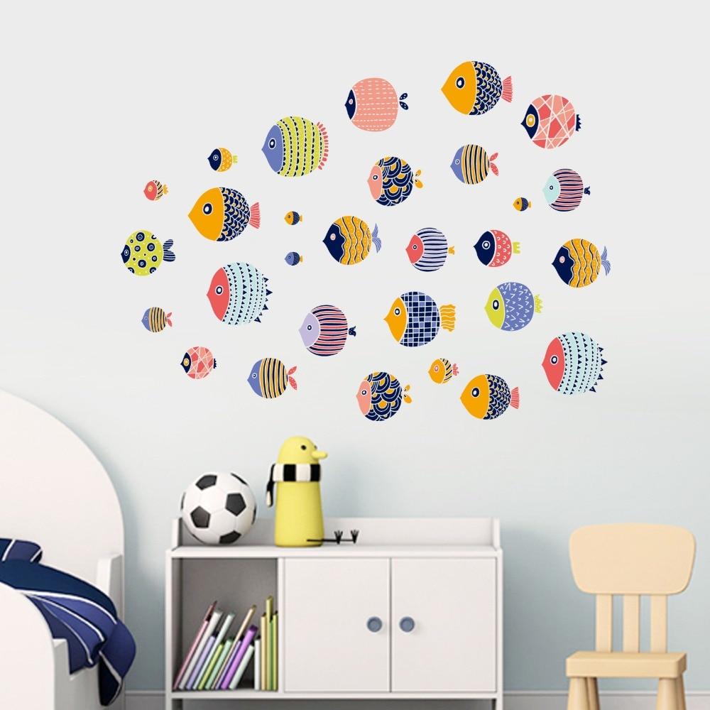 Cartoon Fish Wall Stickers Child Room Decor Bathroom Sticker DIY Removable Sea World Wall Stickers Cartoon Cute Nimo Stickers in Wall Stickers from Home Garden