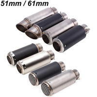 Universal Inlet 61mm To 51mm Motorcycle Exhaust Mufflers Carbon Fiber Motorbike SC Muffler Exhaust Escape With