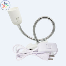 360 Degrees Flexible Lamp Holder Clip Base with On off Switch EU/UK/EU Plug for E27 Light Book Reading And Office Use
