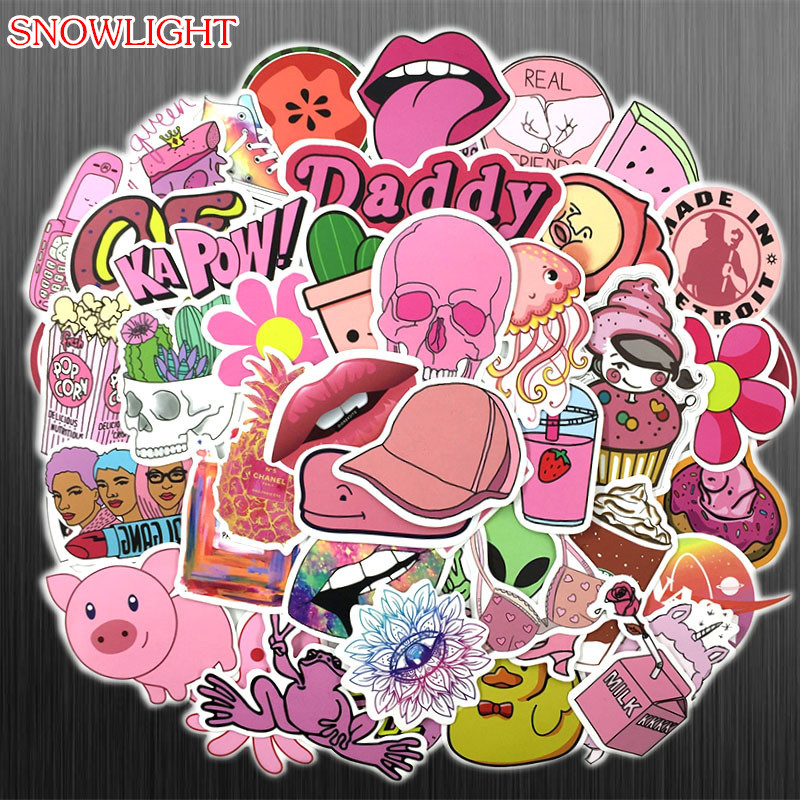 50Pcs PVC Waterproof Girls Kawaii Pink Fun Girl Sticker For Laptop Car Pad Luggage Phone Bicycle Decal Toy Sticker
