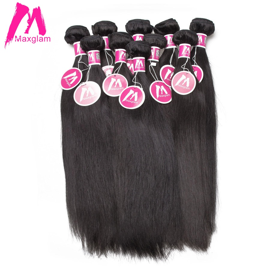 Maxglam Wholesale Human Hair Bundles Straight Brazilian Hair Weave Bundles Extension Remy Hair 10Pcs Lot Free