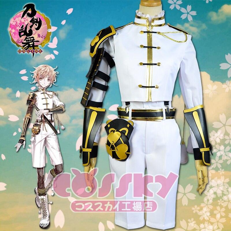 [STOCK] 2017 Game Touken Ranbu Online Monoyoshi Sadamune Cosplay Costume Battle Dress+Armor Unisex Halloween Carnival Free Ship