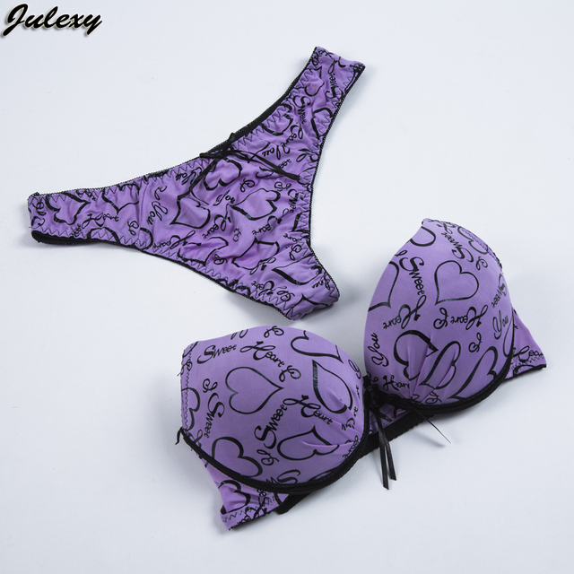 Julexy AB Cup Italy Sexy Women Bra Set G String Printed Bra Brief Sets Sexy Small Girls Lace Push Up Underwear Panty Set