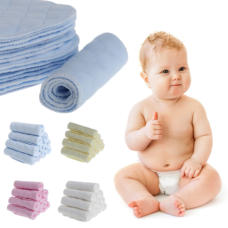 10Pcs Reusable Baby Cotton Blend Cloth Diaper Newborn Soft Nappy Insert 3 Layers #330
