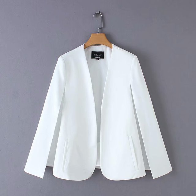 2019 Women elegant black white color v neck split casual cloak coat office lady wear outwear suit jacket open stitch tops CT237 1
