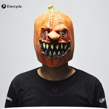 Halloween Pumpkins Costume Prop Horror Adult Silicone Rubber Latex Face Mask Funny Fancy Dress Cosplay