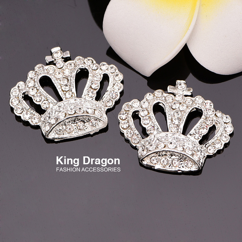Rhinestone Crown Embelishment Button Used on Invitation Card Flat Back 100pcs lot Silver Color 28MM