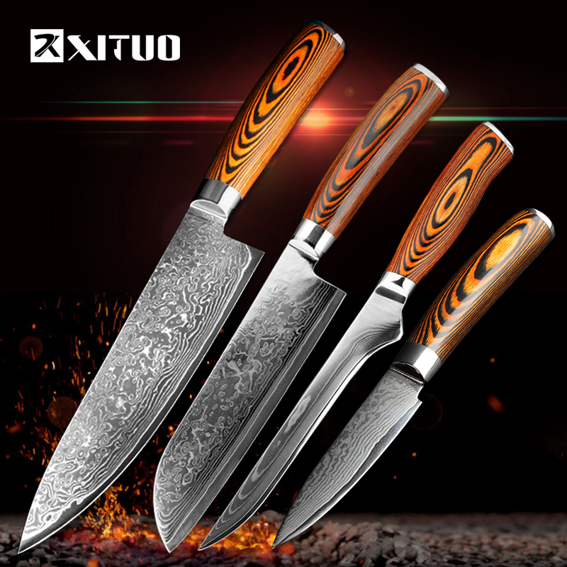 XITUO 4 pcs Kitchen Knives Japane Damascus Steel Knife Chef Boning Paring Utility Color Wood Easily