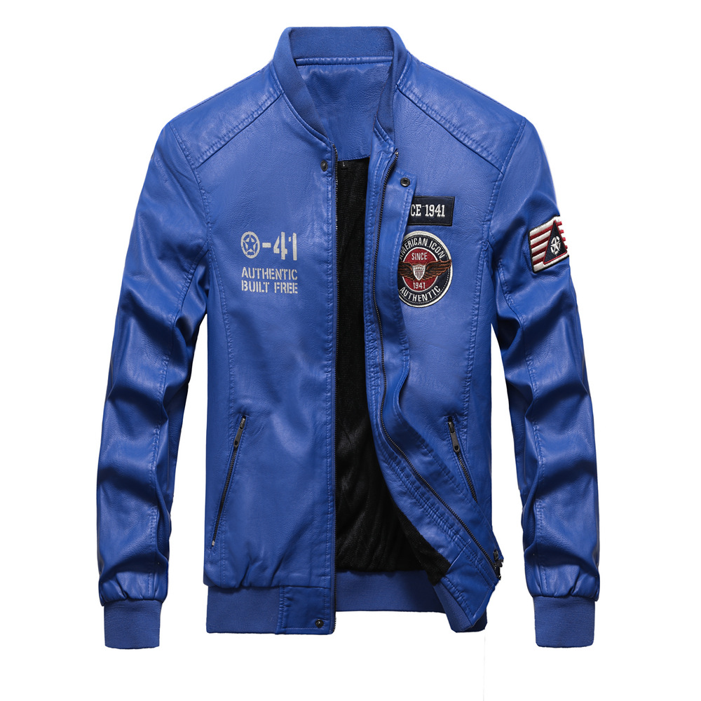 Image 5 - Men Baseball Jacket Embroidered Casual PU Leather Coats Winter 