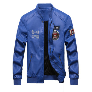 Image 5 - Men Baseball Jacket Embroidered Casual PU Leather Coats Winter Mens Slim Fit Warm Fleece Pilot Military Jackets Stand Collar